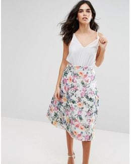 2-in-1 Skater Midi Dress With Floral Skirt