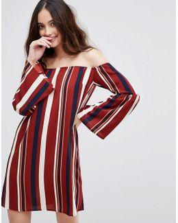 Off Shoulder Bell Sleeve Striped Dress