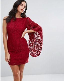 One Shoulder Lace Sleeve Dress
