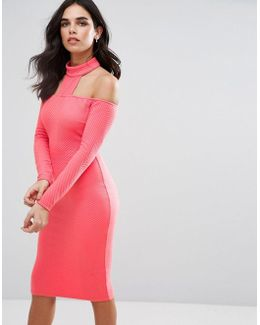 Choker Neck Ribbed Long Sleeve Midi Dress