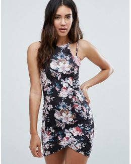 Floral Asymmetric Hem Dress With Double Straps