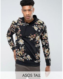 Tall Hoodie With Japanese Floral Print
