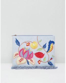 Embroidered Denim Clutch Bag