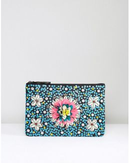 Beaded Shell And Flower Clutch Bag
