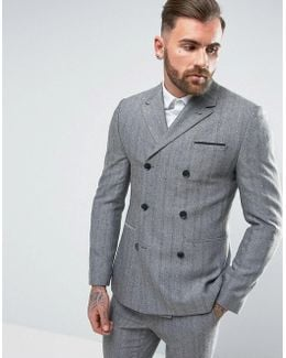 Skinny Double Breasted Suit Jacket In Blue Herringbone