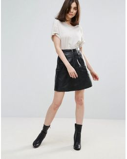 Panalla A Line Leather Skirt