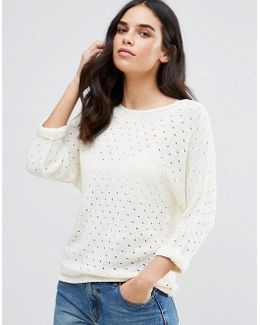 3/4 Textured Knitted Jumper