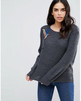 Badged Shoulder Knit