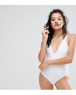 Plunge White Swimsuit