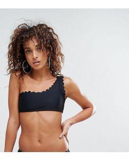 Scallop Edge One Shoulder Mix & Match Bikini Top