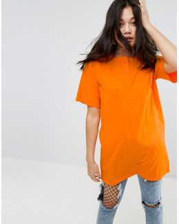 T-shirt With Button Neck In Washed Oversized Fit