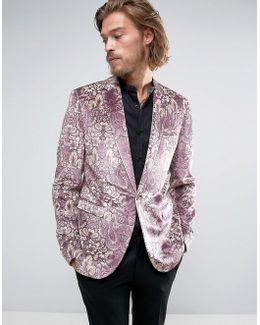 Skinny Blazer In Purple Printed Velvet