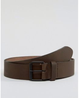 Brown Leather Jeans Belt With Black Coated Buckle
