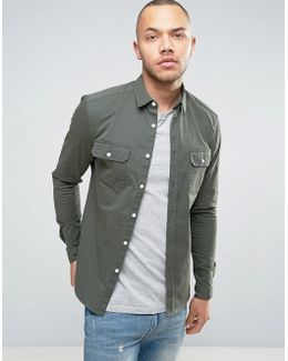 Skinny Double Pocket Shirt In Khaki
