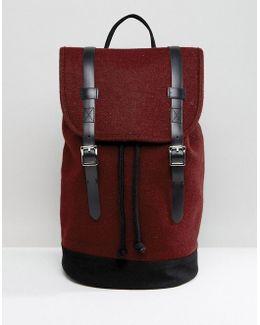 Backpack In Burgundy Melton
