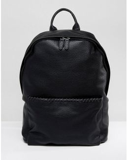 Backpack In Black Faux Leather With Whip Stitch