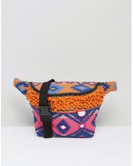 Embroidered Festival Bum Bag With Pom Pom
