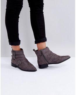 Flat Stud Buckle Boots