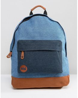 Mi Pac Classic Denim Bacpack With Contrast Tan