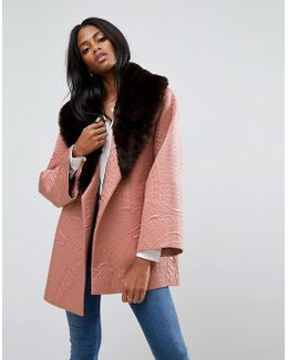Jacquard Kimono Coat With Faux Fur Collar