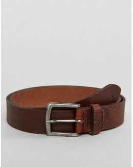 Slim Leather Belt With Vintage Finish