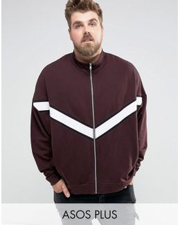 Plus Oversized Jersey Track Jacket With Cut & Sew