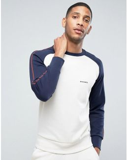Sweatshirt With Contrast Sleeves In White