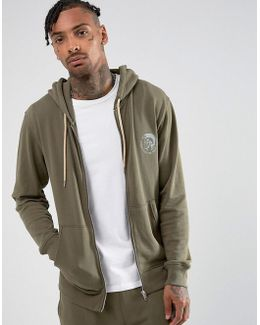 Hoodie With Zip Through In Khaki