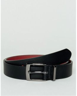 Slim Belt In Faux Leather With Contrast Internal & Metal Keeper