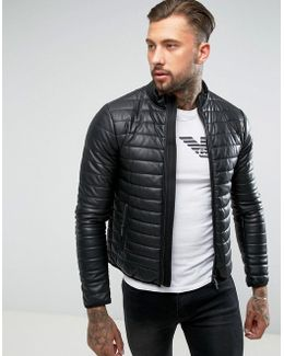 Padded Faux Leather Biker Jacket Black