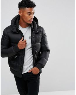 Down Textured Padded Hooded Bomber Jacket Black