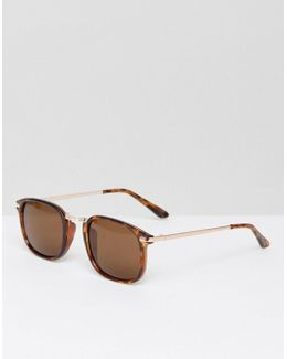 Square Sunglasses In Tort With Gold Arms