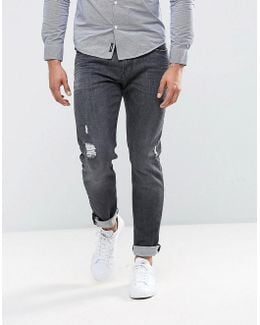 J06 Slim Fit Stretch Gray Distressed Jeans