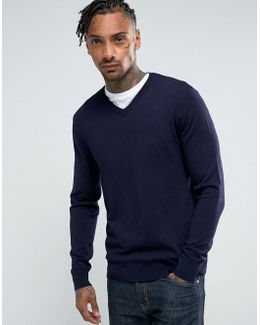 V Neck Logo Sweater Navy