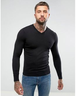 V Neck Logo Sweater Black