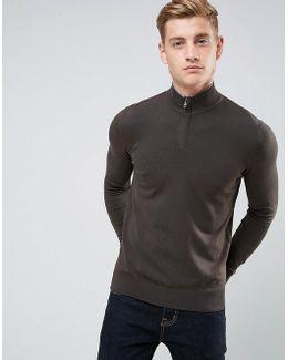 Half Zip Logo Sweater Dark Green