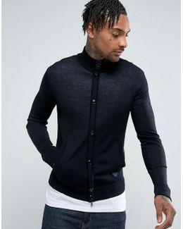 Slim Fit Zip Through Button Logo Jumper Black