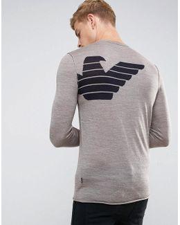 Slim Fit Color Block Back Logo Sweater Brown