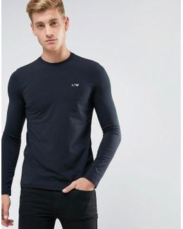 Crew Neck Long Sleeve T-shirt Navy