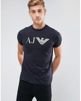Crew Neck Aj Logo T-shirt Navy