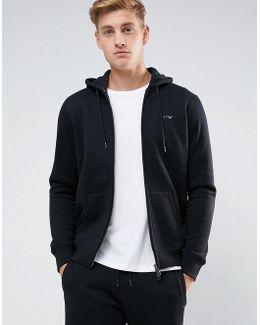 Zip Through Hooded Logo Sweat Black