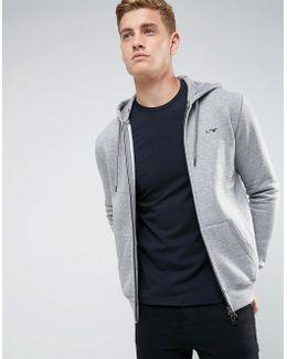 Zip Through Hooded Logo Sweat Gray