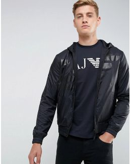 Mixed Fabric Large Eagle Zip Through Hooded Sweat