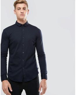 Slim Fit Mercerised Jersey Shirt Navy