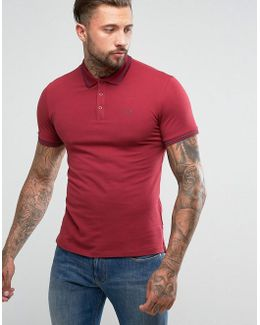 Slim Fit Logo Tipped Polo Shirt Burgundy