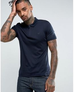 Slim Fit Zip Neck Polo Shirt Navy