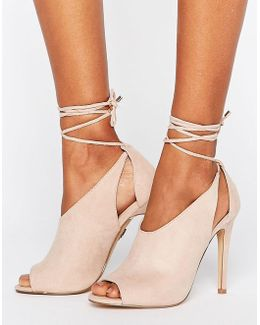 Peep Toe Shoe Boot With Tie Detail