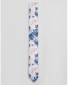 Wedding Tie In Pink Floral Print