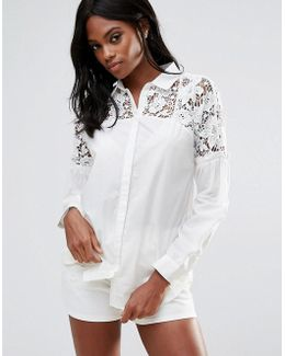 Lace Yoke Frill Detail Shirt