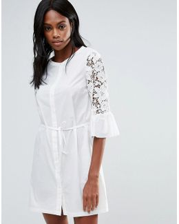 Lace Detail Fluted Sleeve Shirt Dress